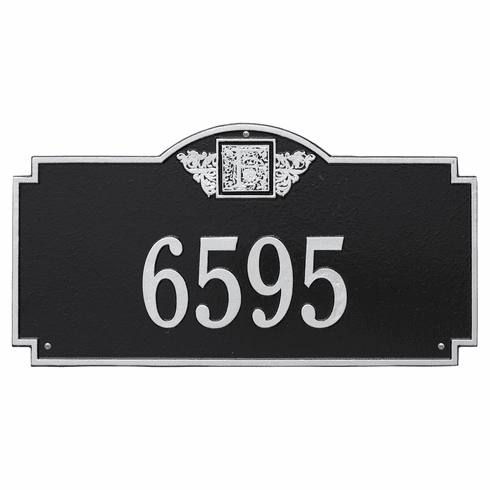 Monogram Estate Wall One Line Plaque in Black and Silver