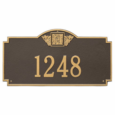 Monogram Estate Wall One Line Plaque in Bronze and Gold