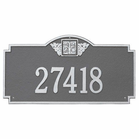 Monogram Estate Wall One Line Plaque in Pewter and Silver
