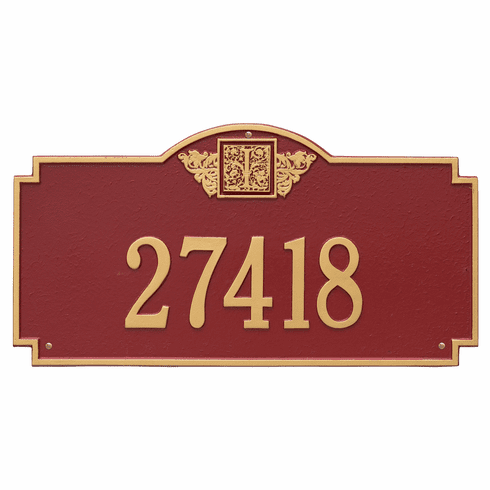 Monogram Estate Wall One Line Plaque in Red and Gold