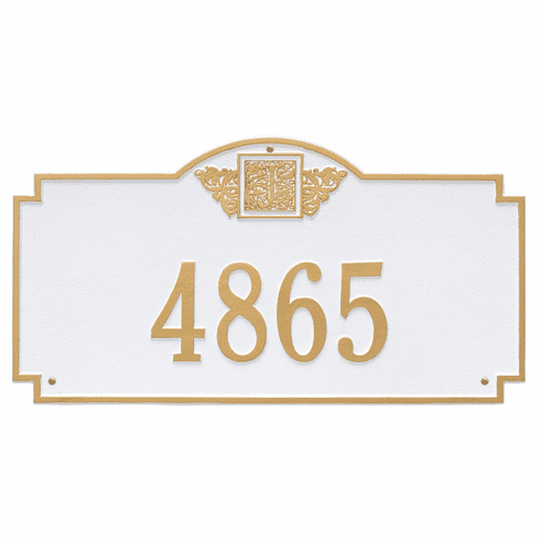 Monogram Estate Wall One Line Plaque in White and Gold