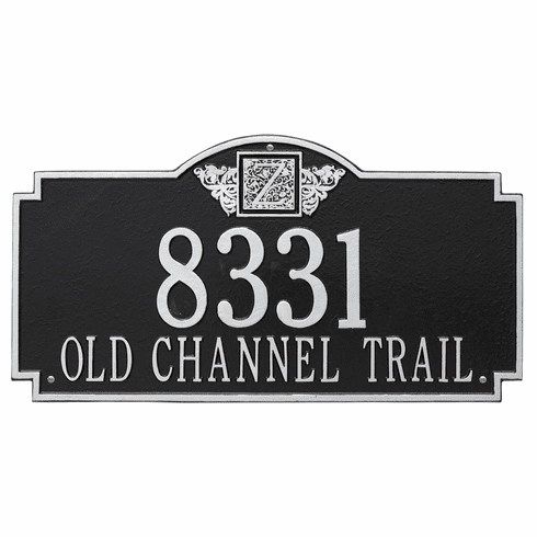 Monogram Estate Wall Two Line Plaque in Black and Silver