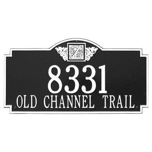 Monogram Estate Wall Two Line Plaque in Black and White
