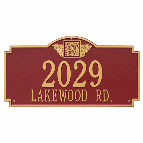 Monogram Estate Wall Two Line Plaque in Red and Gold