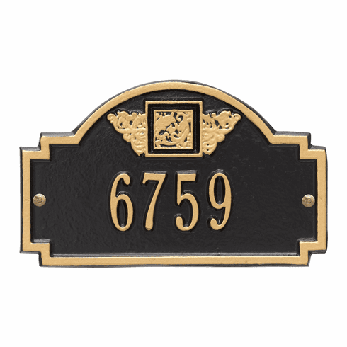 Monogram Petite Wall One Line Plaque in Black and Gold