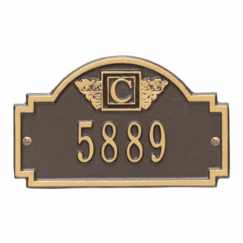 Monogram Petite Wall One Line Plaque in Bronze and Gold
