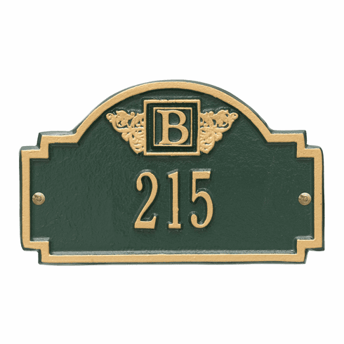 Monogram Petite Wall One Line Plaque in Green and Gold
