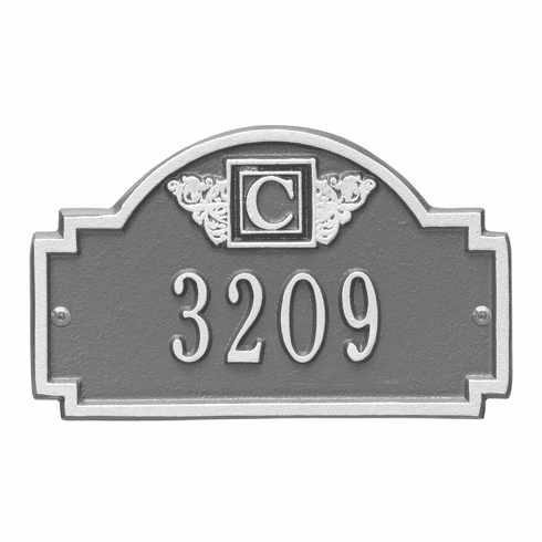 Monogram Petite Wall One Line Plaque in Pewter and Silver