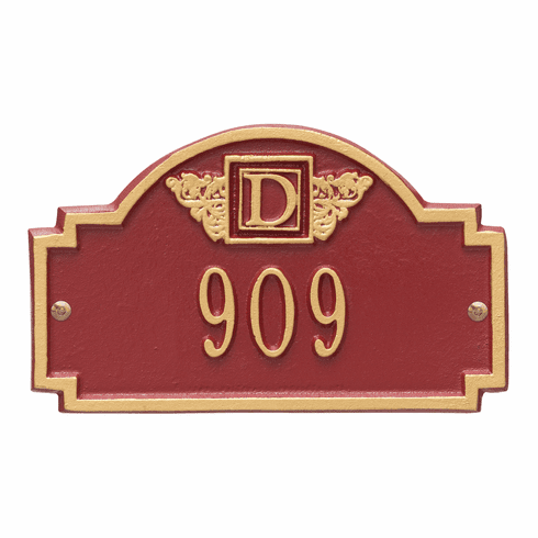 Monogram Petite Wall One Line Plaque in Red and Gold