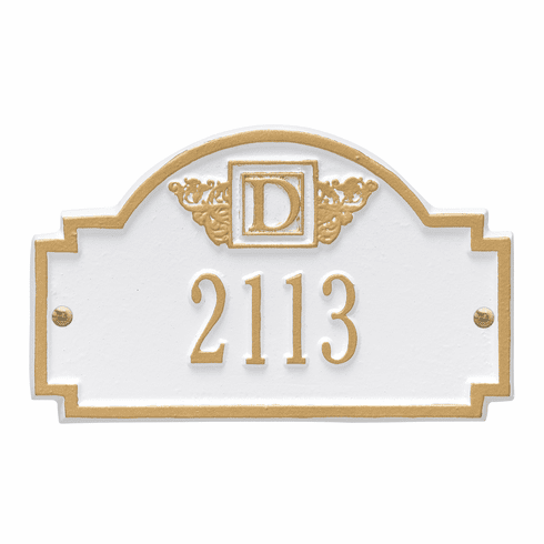 Monogram Petite Wall One Line Plaque in White and Gold