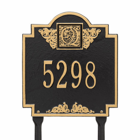 Monogram Standard Lawn One Line Plaque in Black and Gold