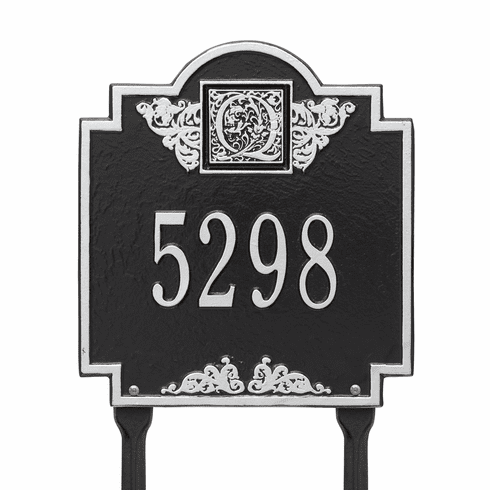 Monogram Standard Lawn One Line Plaque in Black and Silver