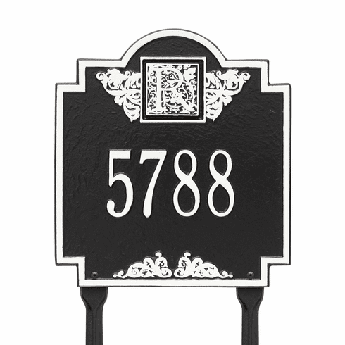 Monogram Standard Lawn One Line Plaque in Black and White