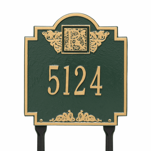 Monogram Standard Lawn One Line Plaque in Green and Gold