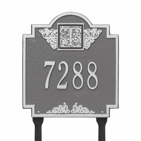 Monogram Standard Lawn One Line Plaque in Pewter and Silver