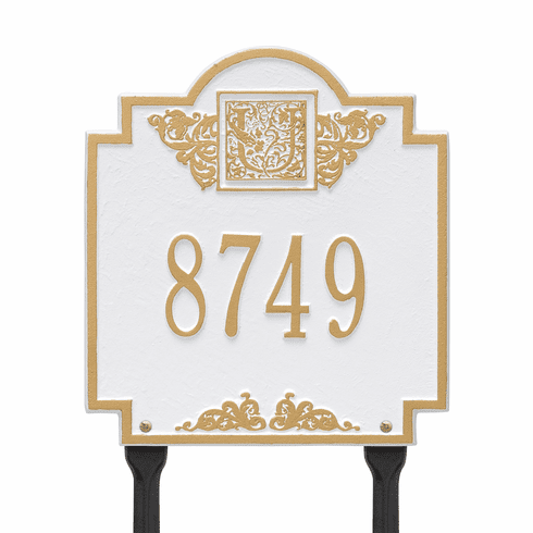 Monogram Standard Lawn One Line Plaque in White and Gold