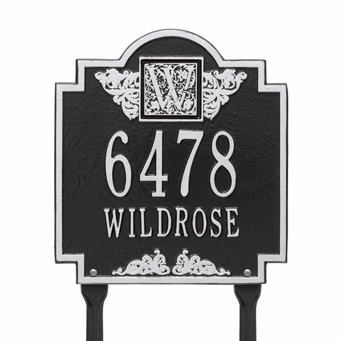 Monogram Standard lawn Two Line Plaque in Black and Silver