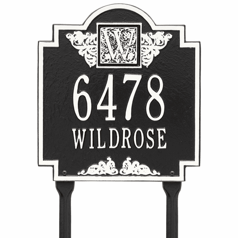 Monogram Standard lawn Two Line Plaque in Black and White