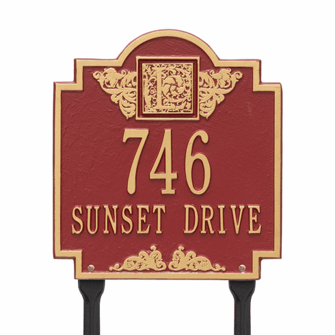 Monogram Standard lawn Two Line Plaque in Red and Gold