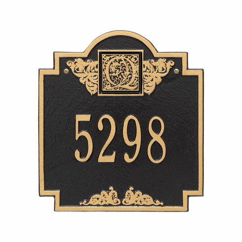 Monogram Standard Wall One Line Plaque in Black and Gold