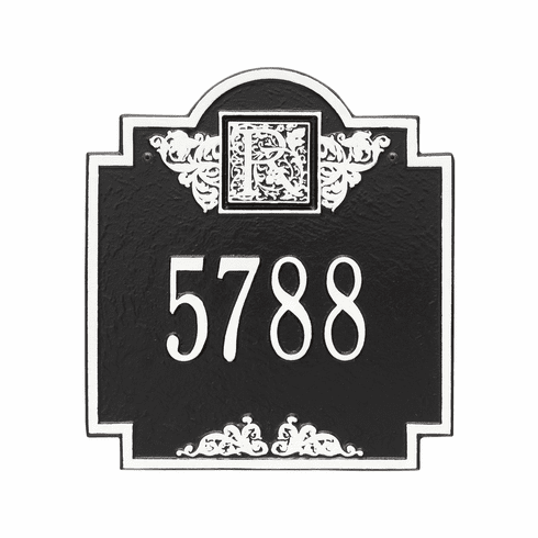 Monogram Standard Wall One Line Plaque in Black and White