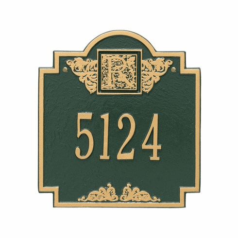 Monogram Standard Wall One Line Plaque in Green and Gold