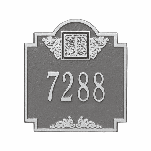 Monogram Standard Wall One Line Plaque in Pewter and Silver