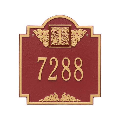 Monogram Standard Wall One Line Plaque in Red and Gold
