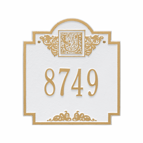Monogram Standard Wall One Line Plaque in White and Gold
