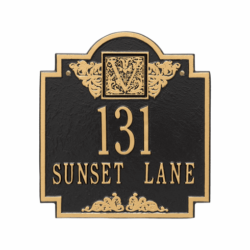 Monogram Standard Wall Two Line Plaque in Black and Gold
