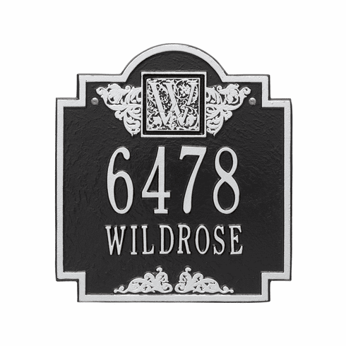 Monogram Standard Wall Two Line Plaque in Black and Silver