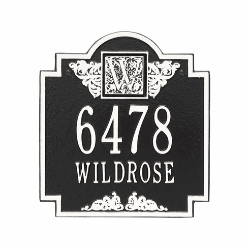 Monogram Standard Wall Two Line Plaque in Black and White