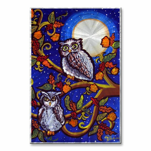 Moonlight Owls Metal Wall Art