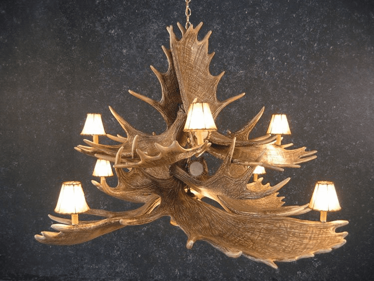 Moose 10 Horn Chandelier Light - Faux  Moose Horns