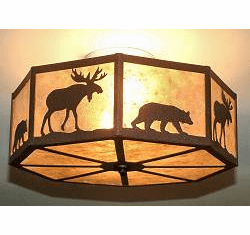 Moose and Bear Octagon Ceiling Light