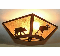 Moose and Bear Square Ceiling Light