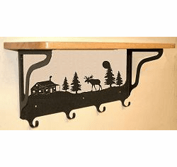 Moose and Cabin Coat Hook with Shelf