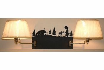 Moose and Cabin Double Swing Arm Wall Lamp