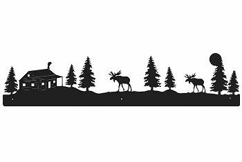 Moose and Cabin Rustic Scenery Wall Art - 3 sizes