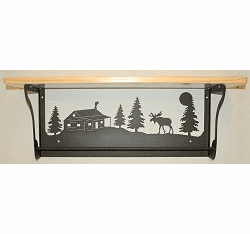 Moose and Cabin Rustic Towel Bar with Shelf