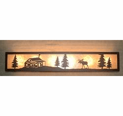 Moose and Cabin Valance Style Bath Vanity Light