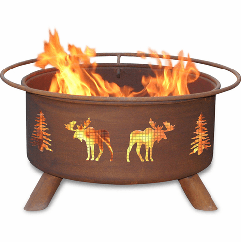 Moose and Trees Design Fire Pit - Camping Fire Ring