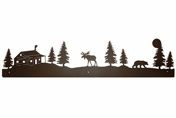 Moose, Bear and Cabin Rustic Scenery Wall Art - 3 sizes
