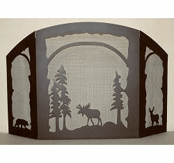 Moose, Bear and Deer Fireplace Screen in Melinda Style