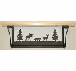 Moose, Bear and Deer Rustic Towel Bar with Shelf