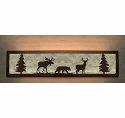 Moose, Bear and Deer Valance Style Bath Vanity Light