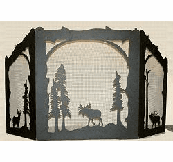 Moose, Deer and Elk Arched or Straight Top Fireplace Screen