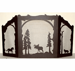 Moose, Horse and Wolf Arched or Straight Top Fireplace Screen