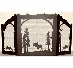 Moose in the Woods Fireplace Screen