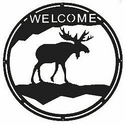 Moose Round Welcome Sign
